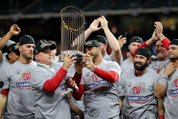 Nationals raise trophy. Photo: NBC News